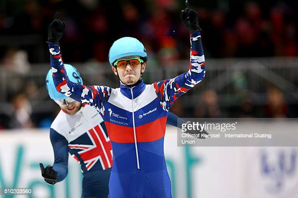 Dmitry Migunov of Russia celebrates his victory of the men 500m final A during Day 3 of ISU Short Track World Cup at Sportboulevard on February 14...