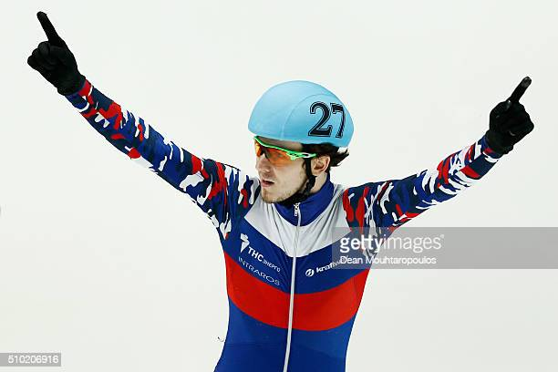 Dmitry Migunov of Russia celebrates winning the gold medal in the 500m Mens Final during ISU Short Track Speed Skating World Cup held at The...