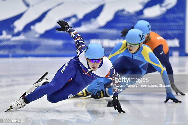 Dmitry Migunov of Russia competes in the Men 500m quaterfinal on day two of the ISU World Cup Short Track Speed Skating 2015 Nagoya at the Nippon...