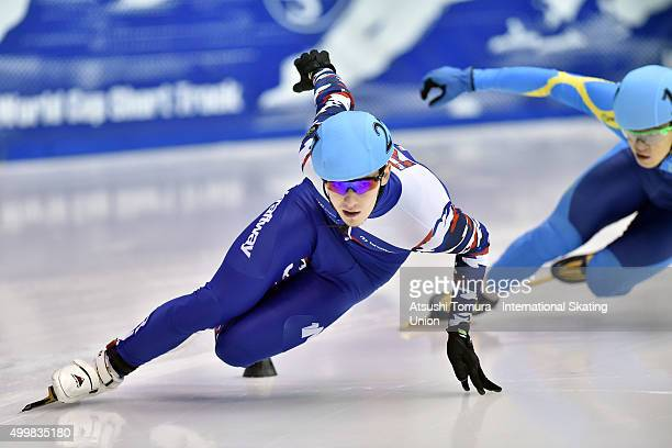 Dmitry Migunov of Russia competes in the Men's 500m preliminaries on day one of the ISU World Cup Short Track Speed Skating 2015 Nagoya at the Nippon...