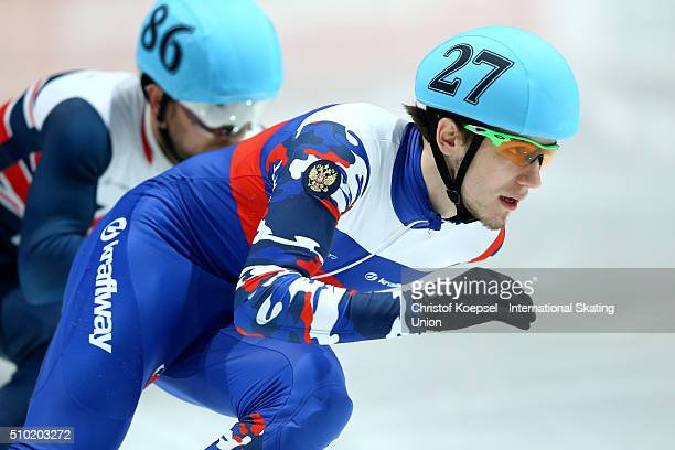 Dmitry Migunov of Russia during the men 500m final A during Day 3 of ISU Short Track World Cup at Sportboulevard on February 14 2016 in Dordrecht...