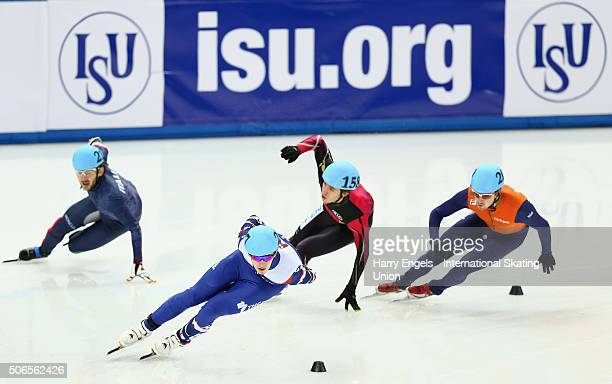 Dmitry Migunov of Russia leads during the Men's 1000m Quarterfinals on day three of the ISU European Short Track Speed Skating Championships at the...