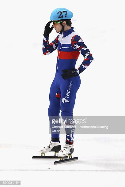 Dmitry Migunov of Russia prepares prior to men 5000m relay semifinal heat two during Day 2 of ISU Short Track World Cup at Sportboulevard on February...
