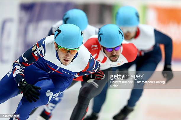 Dmitry Migunov of Russia skates during men 500m semifinal heat one during Day 3 of ISU Short Track World Cup at Sportboulevard on February 14 2016 in...
