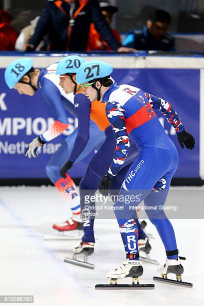 Dmitry Migunov of Russia skates during the men 500m quarterfinals heat one during Day 3 of ISU Short Track World Cup at Sportboulevard on February 14...