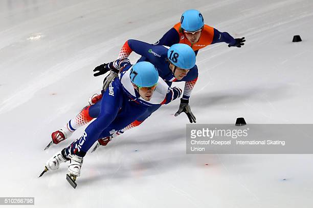 Dmitry Migunov of Russia skates in front during the men 500m quarterfinals heat one during Day 3 of ISU Short Track World Cup at Sportboulevard on...