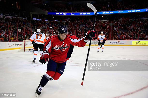 Dmitry Orlov of the Washington Capitals celebrates after scoring a first period goal against the Philadelphia Flyers at Verizon Center on March 2...