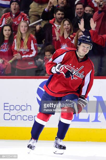 Dmitry Orlov of the Washington Capitals celebrates after scoring a goal in the first period against the Carolina Hurricanes during an NHL game at...
