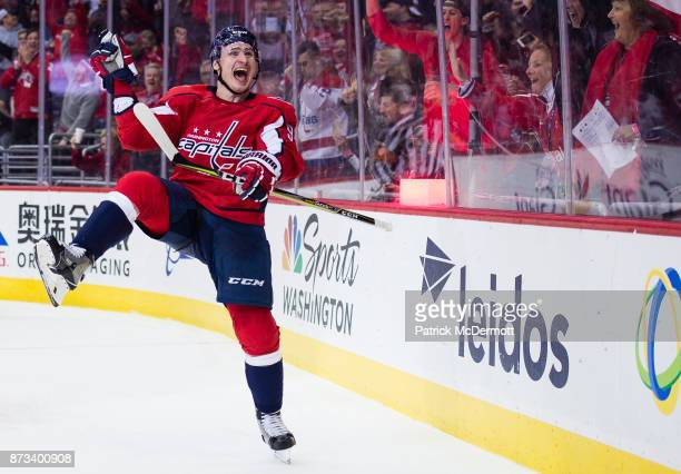 Dmitry Orlov of the Washington Capitals celebrates after scoring a goal against the Edmonton Oilers in the third period at Capital One Arena on...
