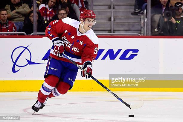 Dmitry Orlov of the Washington Capitals controls the puck in the third period against the New York Rangers during a game at Verizon Center on January...