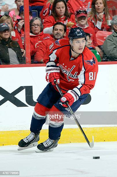 Dmitry Orlov of the Washington Capitals handles the puck against the Philadelphia Flyers at the Verizon Center on March 2 2014 in Washington DC