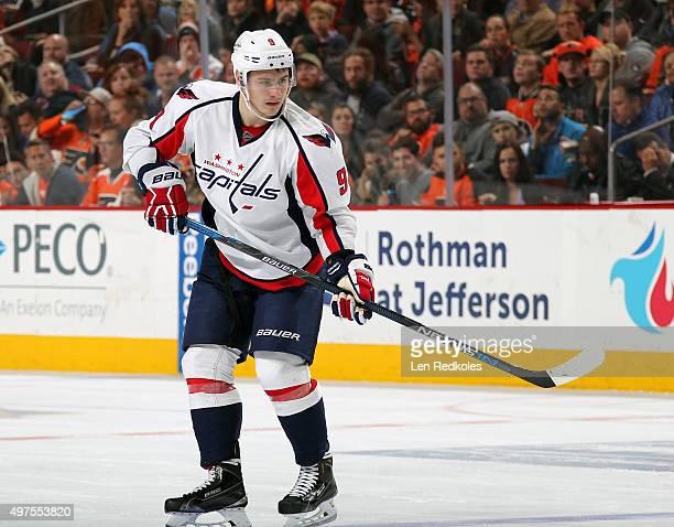 Dmitry Orlov of the Washington Capitals looks on against the Philadelphia Flyers on November 12 2015 at the Wells Fargo Center in Philadelphia...