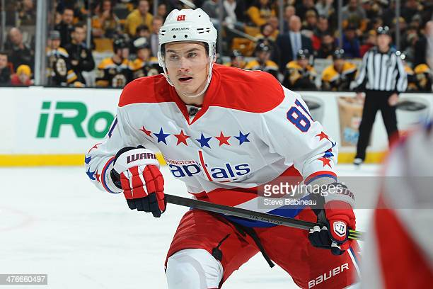 Dmitry Orlov of the Washington Capitals skates against the Boston Bruins at the TD Garden on March 1 2014 in Boston Massachusetts
