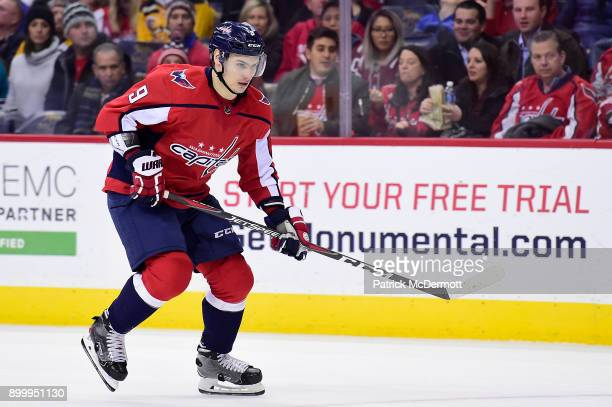Dmitry Orlov of the Washington Capitals skates against the Boston Bruins in the second period at Capital One Arena on December 28 2017 in Washington...