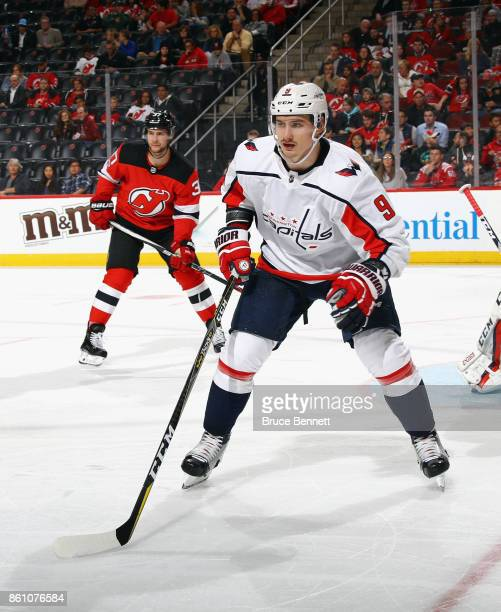 Dmitry Orlov of the Washington Capitals skates against the New Jersey Devils at the Prudential Center on October 13 2017 in Newark New Jersey The...