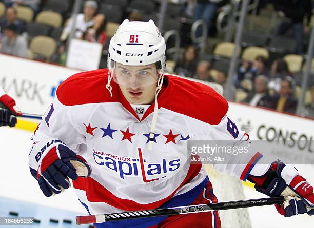 Dmitry Orlov of the Washington Capitals skates during his first NHL game against the Pittsburgh Penguins at Consol Energy Center on March 19 2013 in...