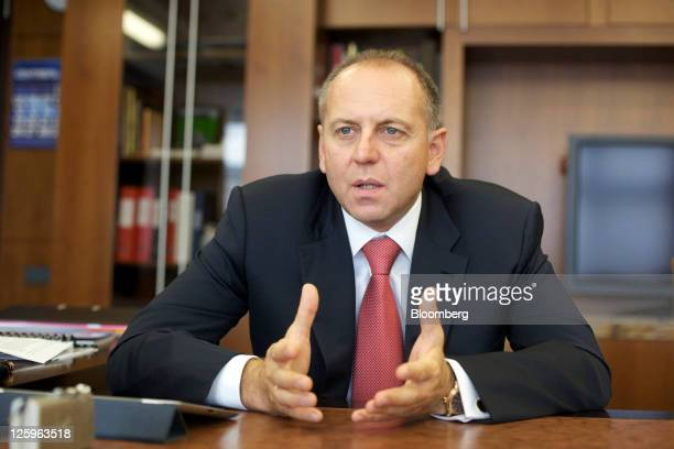 Dmitry Pumpyansky chairman of OAO TMK gestures during an interview in his office at the company's headquarters in Moscow Russia on Thursday Sept 22...