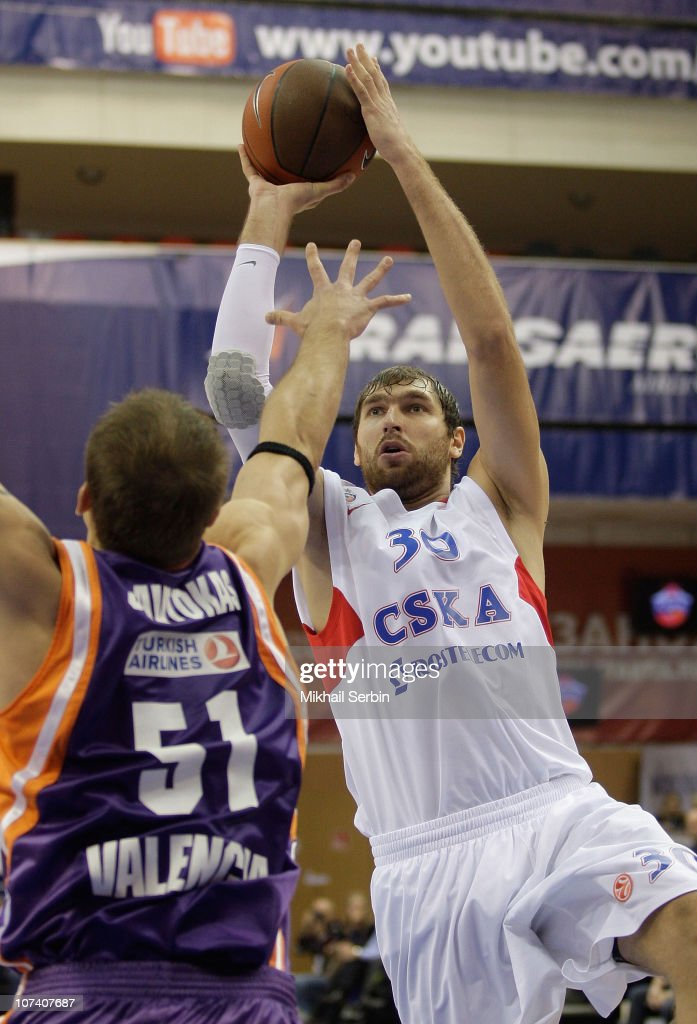 Dmitry Sokolov, #30 of CSKA Moscow competes with Robertas