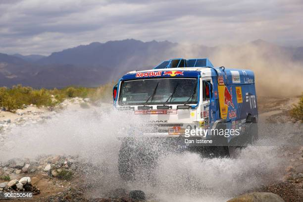 Dmitry Sotnikov of Russia and Team KAMAZ Master drives with codriver Ruslan Akhmadeev of Russia and mechanic Ilnur Mustafin of Russia in a 43509...