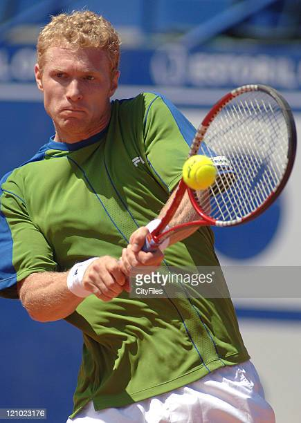 Dmitry Tursunov in action against Frederico Gil during their second round match in the 2006 Estoril Open at the Estadio Nacional in Estoril Portugal...