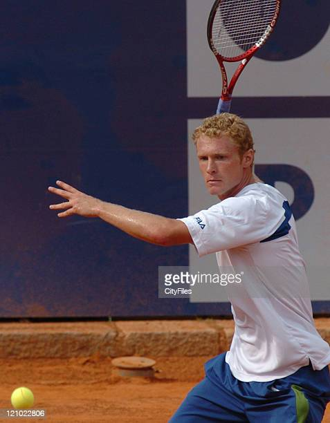 Dmitry Tursunov in action against Gastão Elias during the first round of the 2006 Estoril Open at Estadio Nacional in Estoril Portugal on May 2 2006