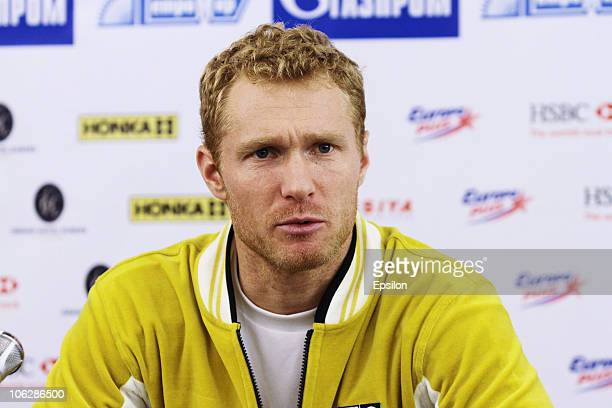 Dmitry Tursunov of Russia attends a press conference during day five of the International Tennis Tournament St Petersburg Open 2010 at the...