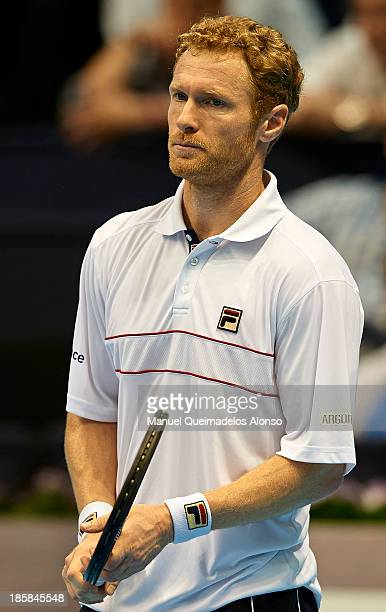 Dmitry Tursunov of Russia looks on in his Men's Singles match against to Jeremy Chardy of France during day five of the Valencia Open 500 at the...
