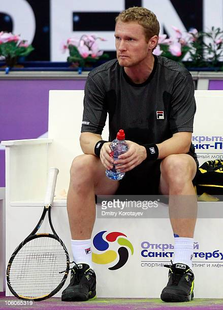 Dmitry Tursunov of Russia reacts during day three of the International Tennis Tournament St Petersburg Open 2010 match against Michal Przysiezny of...