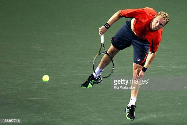 Dmitry Tursunov of Russia serves in his match against Tatsuma Ito of Japan during day four of the Rakuten Open at Ariake Colosseum on October 4 2012...