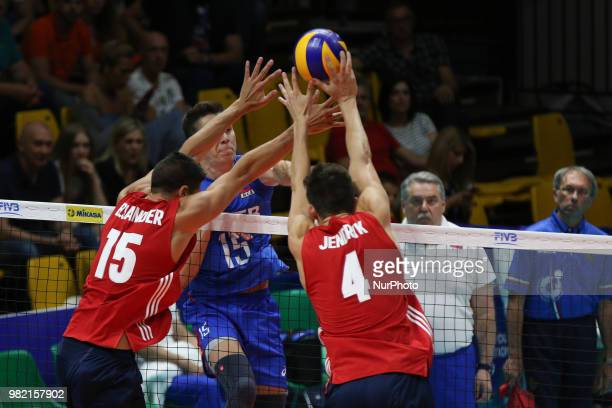 Dmitry Volkov Brenden Sander and Jeffrey Jendryk during the FIVB Volleyball Nations League 2018 between USA and Russia at Palasport Panini on June 23...