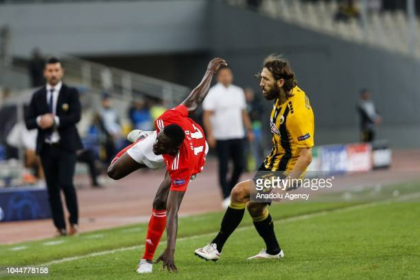 Dmytro Chygrynskiy of AEK Athens in action against Alfa Semedo of Benfica Lisbon during the UEFA Champions League Group E soccer match between AEK...