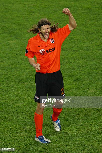 Dmytro Chygrynskiy of Shakhtar Donetsk celebrates following his team's victory after extra time at the end of the UEFA Cup Final between Shakhtar...