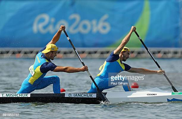 Dmytro Ianchuk and Taras Mischuk of the Ukraine compete in the Men's Canoe Double 1000m on Day 14 of the Rio 2016 Olympic Games at the Lagoa Stadium...