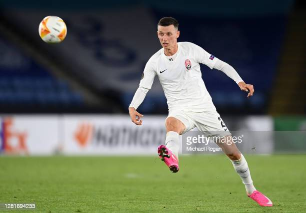 Dmytro Ivanisenya of Zorya Luhansk has a shot on goal during the UEFA Europa League Group G stage match between Leicester City and Zorya Luhansk at...