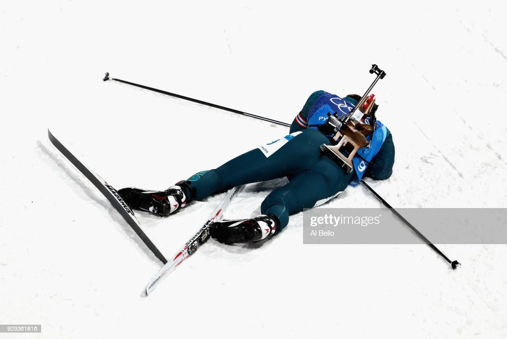 Dmytro Pidruchnyi of Ukraine at the finish line during the Men's 4x7.5km Biathlon Relay on day 14 of the PyeongChang 2018 Winter Olympic Games at Alpensia Biathlon Centre on February 23, 2018 in Pyeongchang-gun, South Korea.