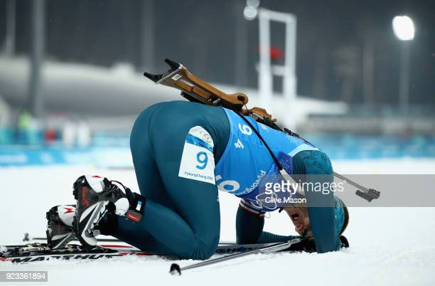 Dmytro Pidruchnyi of Ukraine at the finish line during the Men's 4x75km Biathlon Relay on day 14 of the PyeongChang 2018 Winter Olympic Games at...