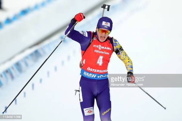 Dmytro Pidruchnyi of Ukraine celebrates winning the IBU Biathlon World Championships Men's Pursuit at Swedish National Biathlon Arena on March 10,...