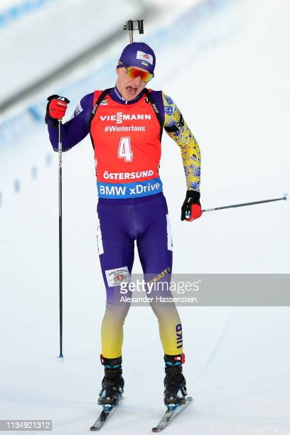Dmytro Pidruchnyi of Ukraine celebrates winning the IBU Biathlon World Championships Men's Pursuit at Swedish National Biathlon Arena on March 10...