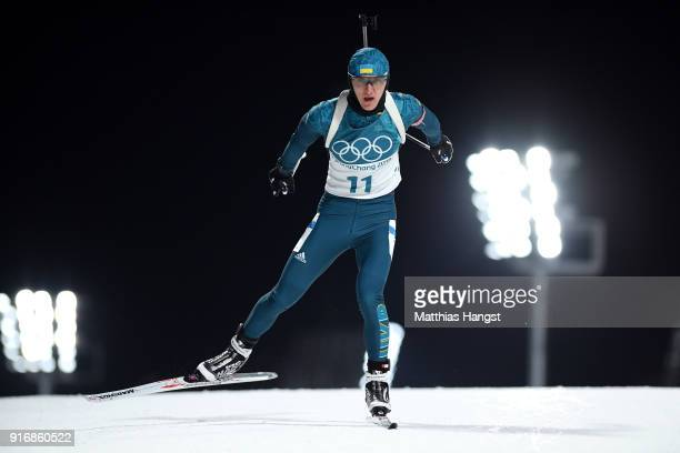 Dmytro Pidruchnyi of Ukraine competes during the Men's 10km Sprint Biathlon on day two of the PyeongChang 2018 Winter Olympic Games at Alpensia...