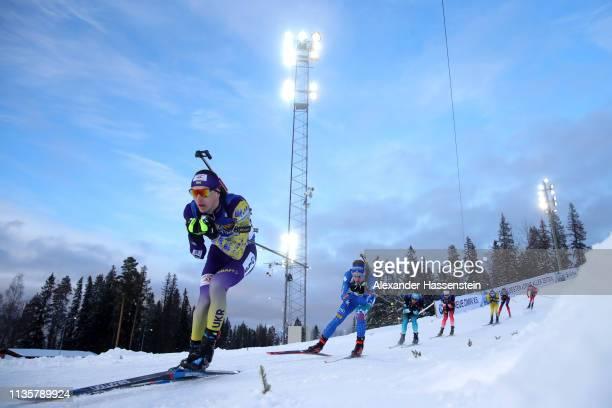 Dmytro Pidruchnyi of Ukraine competes in the IBU Biathlon World Championships Single Mixed Relay at Swedish National Biathlon Arena on March 14, 2019...