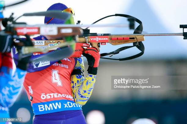 Dmytro Pidruchnyi of Ukraine wins the gold medal during the IBU Biathlon World Championships Men's and Women's Pursuit on March 10 2019 in Oestersund...