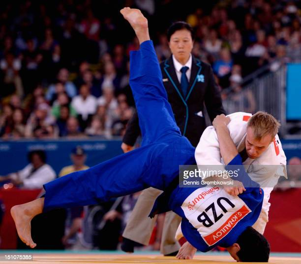 Dmytro Solovey of Ukraine and Sharif Khalilov of Uzbekistan compete in the Men's 73kg Gold Medal Contest on day 2 of the London 2012 Paralympic Games...