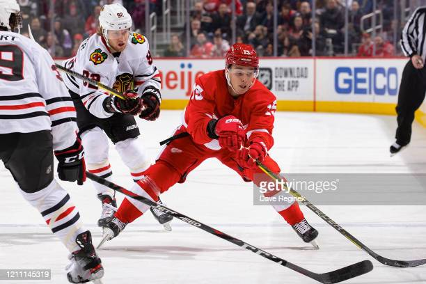 Dmytro Timashov of the Detroit Red Wings reaches for the puck in front of Alex Nylander of the Chicago Blackhawks during an NHL game at Little...