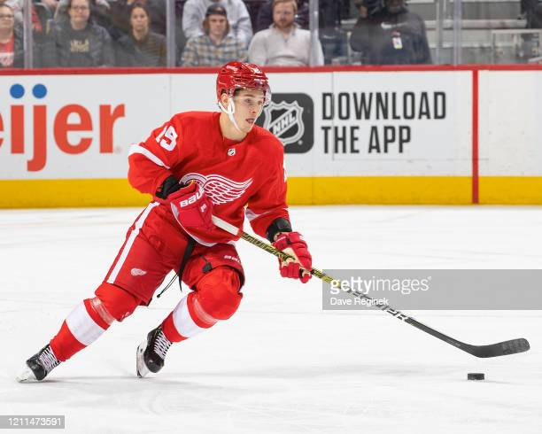 Dmytro Timashov of the Detroit Red Wings skates up ice with the puck against the Tampa Bay Lightning during an NHL game at Little Caesars Arena on...