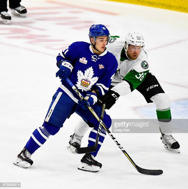 Dmytro Timashov of the Toronto Marlies battles with John Nyberg of the Texas Stars during game 6 of the AHL Calder Cup Final on June 12 2018 at Ricoh...