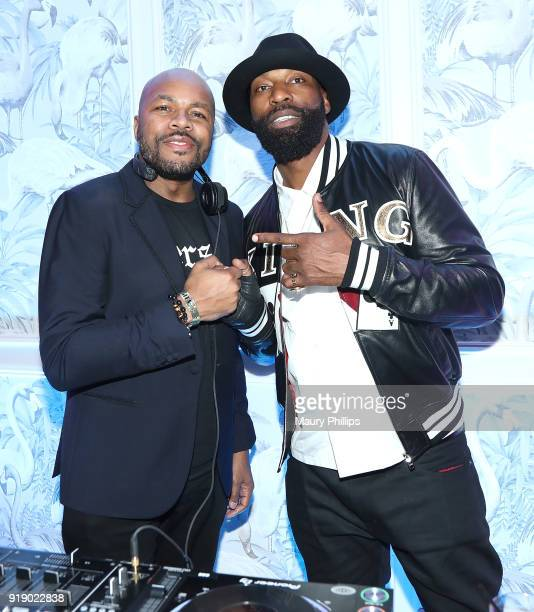 Nice and Baron Davis attend LA AllStar Weekend Kick Off Party at the London Hotel on February 16 2018 in Los Angeles California