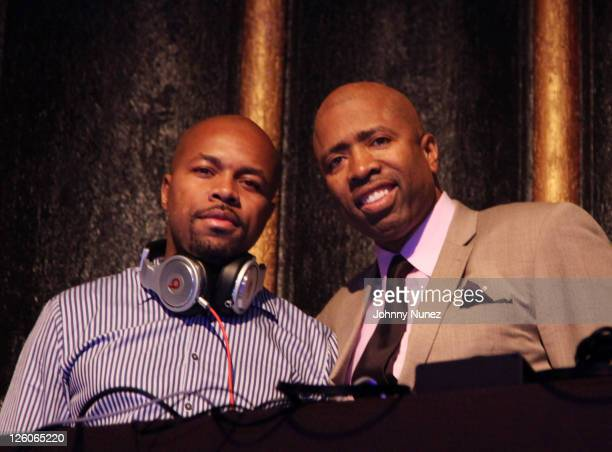 DJ DNice and former NBA player and TV personality Kenny Smith attend the Farmers Insurance and Kenny The Jet Smith AllStar Bash at the Music Box...