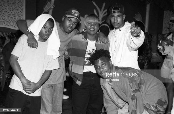 """Nice Nikki D and Leaders Of The New School Rapper Charlie Brown attend an album-release party for A Tribe Called Quest's """"The Low End Theory"""" on..."""