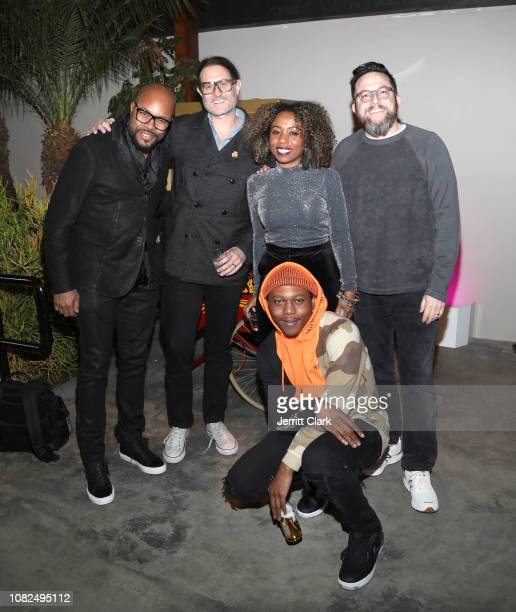 Nice Rostrum's Jonathan Partch Nicole Plantin and Benjy Grinberg with Rostrum artist Innanet James attend Rostrum Records Annual Holiday Party on...