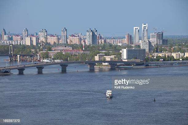 Dnieper river and commune town with bridge in Kiev